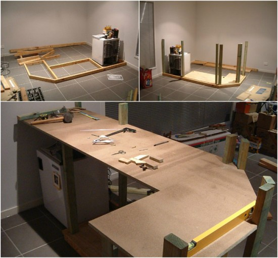 Этапы монтажа барной стойки из деревянных брусьев