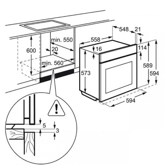 Схема: установка встраиваемого духового шкафа