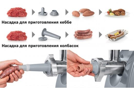 Насадка кеббе и насадка для домашних колбасок