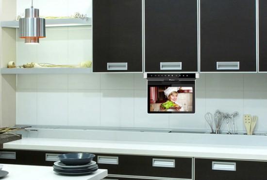 Крепление телевизора к дну подвесного шкафчика (откидной экран)
