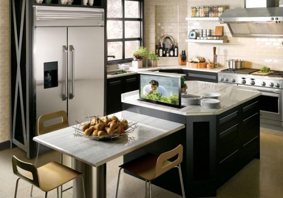 Если телевизор размещается близко в рабочей поверхности, выбирайте технику, которая легко очищается