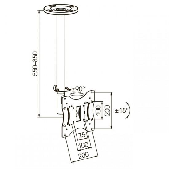 Схема крепления потолочного кронштейна