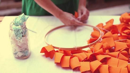 Изготовление люстры из ткани