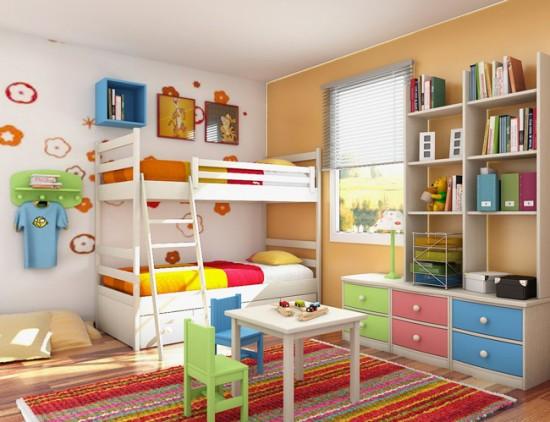 Для комнаты близнецов хорошим решением будет двухъярусная кровать