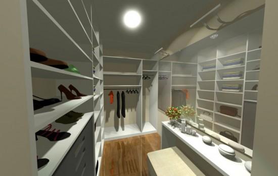 Столик с ящичками в гардеробной позволит разместить разныемелочи
