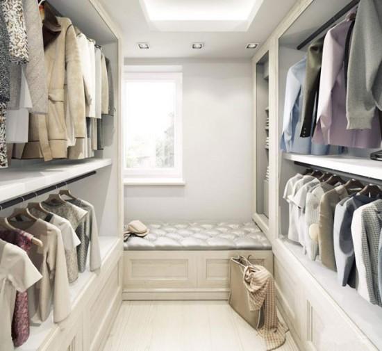 Белый цвет добавит гардеробной пространства и легкости