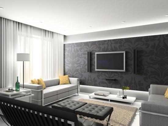 Однотонные легкие шторы в гостиной