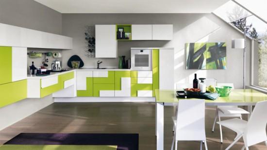 Яркие и необычные мебельные фасады могут быть главным акцентом интерьера