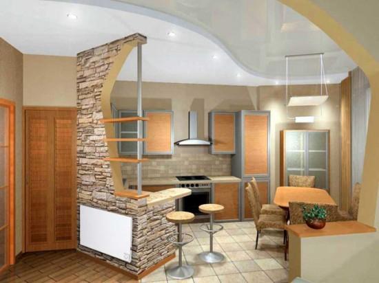 Керамогранитный пол в кухне-студии