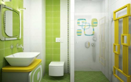 Зонирование ванной комнаты с помощью перегородки