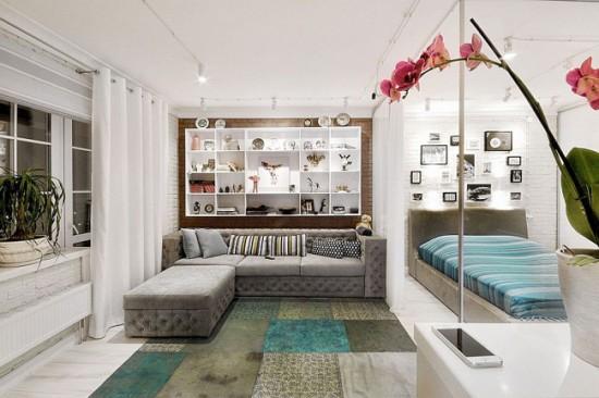 Зона спальни в квартире-студии
