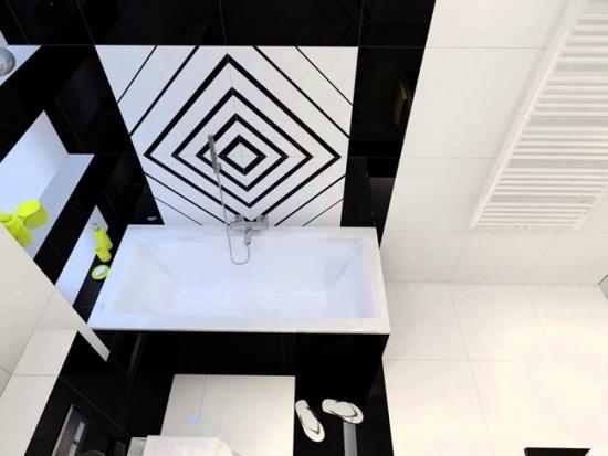 Черный и белый цвета можно удачно совместить даже в маленькой ванной