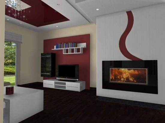 Потолок с модными бордовыми элементами
