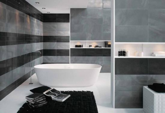 Металлизированная плитка в ванной