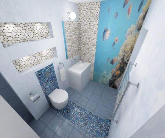 Декорирование туалета в морской тематике