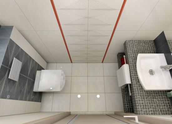 Отделка туалета белым кафелем делает помещение просторнее