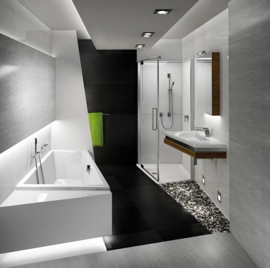 Сочетание различных отделочных материалов очень актуально для оформления ванной