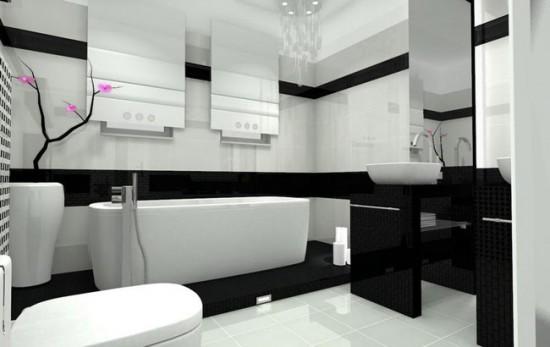 Яркий розовый акцент в интерьере ванной