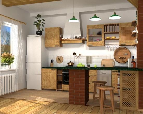 Природные тона и простые деревянные элементы - главная особенность стиля кантри