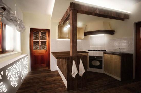Очень часто в деревенском стиле интерьера используется натуральная древесина