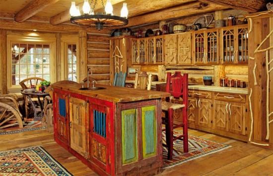 В деревенском стиле часто присутствуют коврики, салфетки и занавески ручной работы