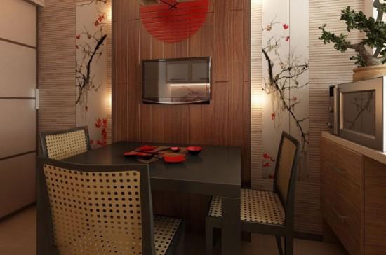 Выбирая мебель для кухни в японском стиле отдайте предпочтение простым формам