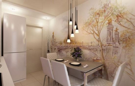 Акцентная стена на кухне, оформленная фотообоями