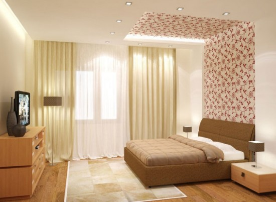 акцентная стена. переходящая в потолок - новое веяние в дизайне спален