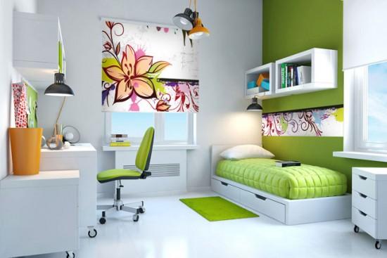 Рулонные шторы сочных оттенков для комнаты подростка