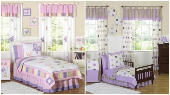 Шторы для комнаты малыша: слева - для девочки, справа - для мальчика