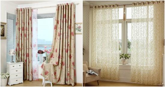 романтичные шторы с природным орнаментом