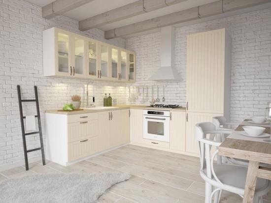 Кирпичная кладка на стенах кухни
