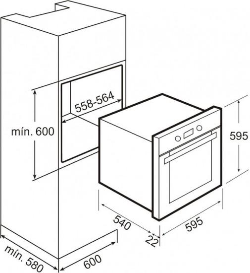 Размеры шкафа должны превышать размеры духовки