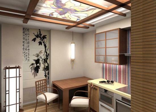 Балки на потолке подчеркивают азиатский стиль