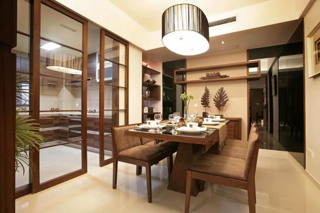 Кухня отделенная от обеденной зоны согласно принципам фен-шуй