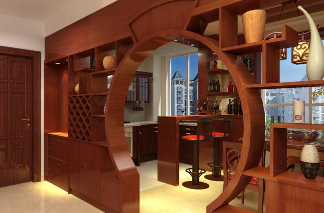 Мебель в китайском интерьере имеет множество полок и ниш