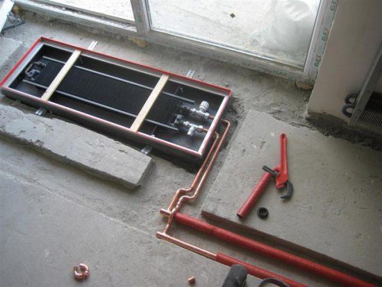 Монтаж внутрипольного конвектора