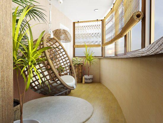 Оформление лоджии плетеной мебелью и комнатными растениями
