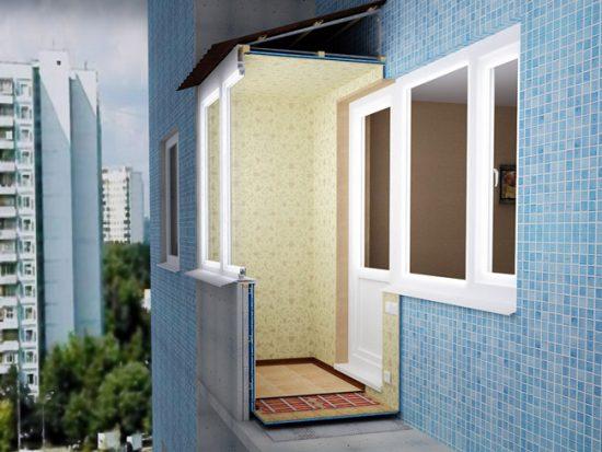 Схема: утепление балкона