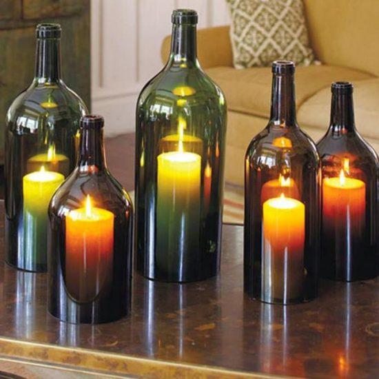 Необычные подсвечники из винных бутылок