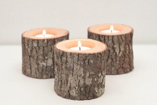 Небольшие подсвечники из дерева