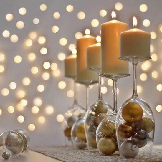Новогодние подсвечники из стеклянных бокалов