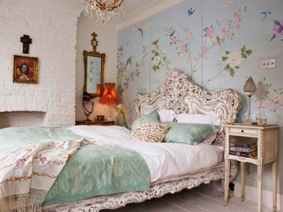 Романтичный интерьер спальни в стиле шебби шик