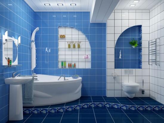 Отделка просторной ванной с использованием двух цветов