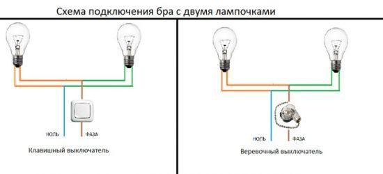Схема подключения бра
