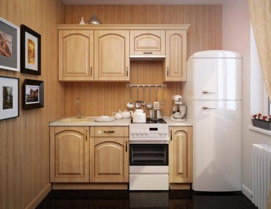 На маленькой кухне вполне поместится компактная модель холодильника