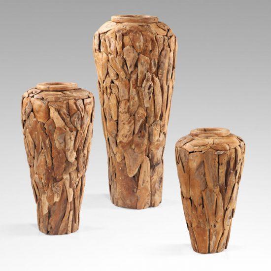 Деревянная напольная ваза