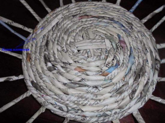 Плетение дна вазы