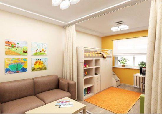 Разделить детскую и взрослую зоны можно с помощью шторы или ширмы