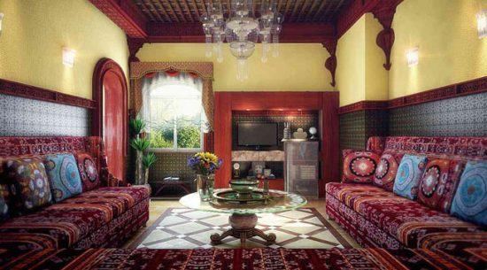 Множество дорогих тканей - черта марокканского интерьера
